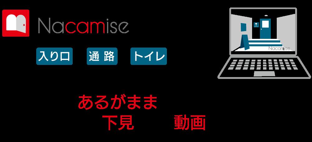 nacamiseは、今、あるがままの店内・施設内を散策気分で下見できる動画コンテンツです。